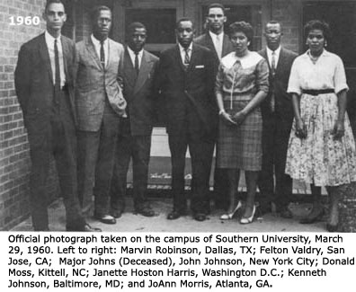 Major Johns, center with other student protesters at Southern University in Baton Rouge