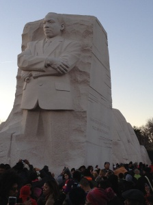 MLK observes the Inauguration with Pride.Photo by LaVerne Baker-Leyva, MLK statue modeled on Bob Fitch photograph.