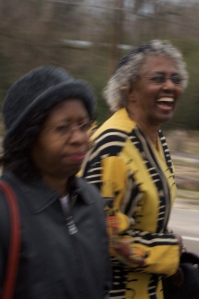 Kate (right) marches with  Iris Judson in high spirits, March 1, 2010, Camden, AL