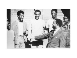 "Hosea L Williams with his top SCOPE staff outside the Freedom House in Atlanta in the Summer of 1965. As stated by his daughter, Dr. Barbara Williams Emerson in February 2012, ""It is a good photo from the period, but it says nothing, or everything, about female participation"": L to R- Benjamin Van Clarke, Stoney Cook, Carl Farris, Andrew Marquette , and Richard Boone. – Courtesy Barbara Emerson Williams. Copyright, all rights reserved."