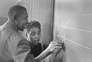 Dorothy Cotton teaching Citizenship Literacy, AnnieMaine, AL 1966. Photo copyright Bob Fitch