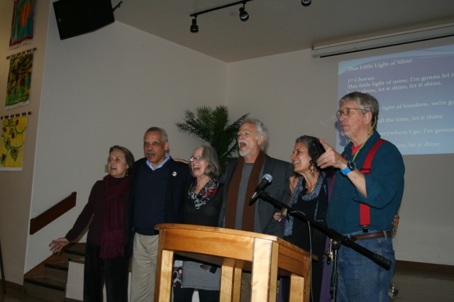 """Bob Fitch and other civil rights veterans singing at """"This Bright Light of Ours"""" westcoast book launch Feb 20, 2014"""