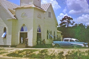 Antioch Baptist Church the morning after it was shot up by the Klan June 1965