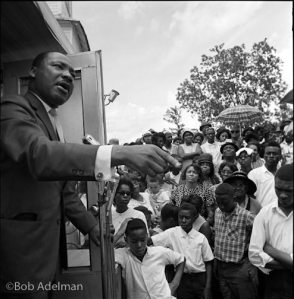 Dr. King at Antioch Baptist Church, Camden AL where we were stalked by the KKK. Photo copyright Bob Adelman