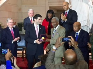 Rev FD Reese is presented with the Congressional Medal of Honor for 1965 Voting Rights Marchers. Mitch McConnell, Jeff Sessions, Paul Ryan, Terri Sewell, Cory Booker and John Lewis were among the elected officials attending.