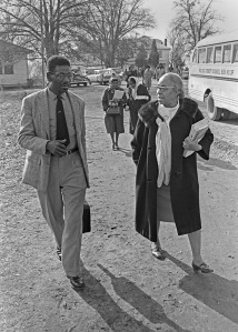 Jake Irby with Septima Clark talking after Citizenship Education Project training in Wilcox County, AL 1966. Mr Irby was trained to train others in literacy and about their voting rights. © Bob Fitch Photo Archive Stanford University Library. All rights reserved. May be viewed and shared for educational, personal and nonprofit use only.