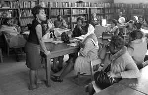 Dorothy Cotton, SCLC Education Director teaching adult literacy and voting rights during a Citizenship Education Project class in Wilcox County, AL 1966. Adults were trained to train other adults in their communities, to prepare for the first opportunity to vote after the passage of the 1965 Voting Rights Act. © Bob Fitch Photo Archive Stanford University Library. All rights reserved. May be viewed and shared for educational, personal and nonprofit use only.