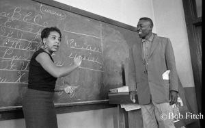 Dorothy Cotton, SCLC Education Director and Voting Rights Project leader with a student in Citizenship Education Project class in Wilcox County, 1966. © Bob Fitch Photo Archive Stanford University Library. All rights reserved. May be viewed and shared for educational, personal and nonprofit use only.