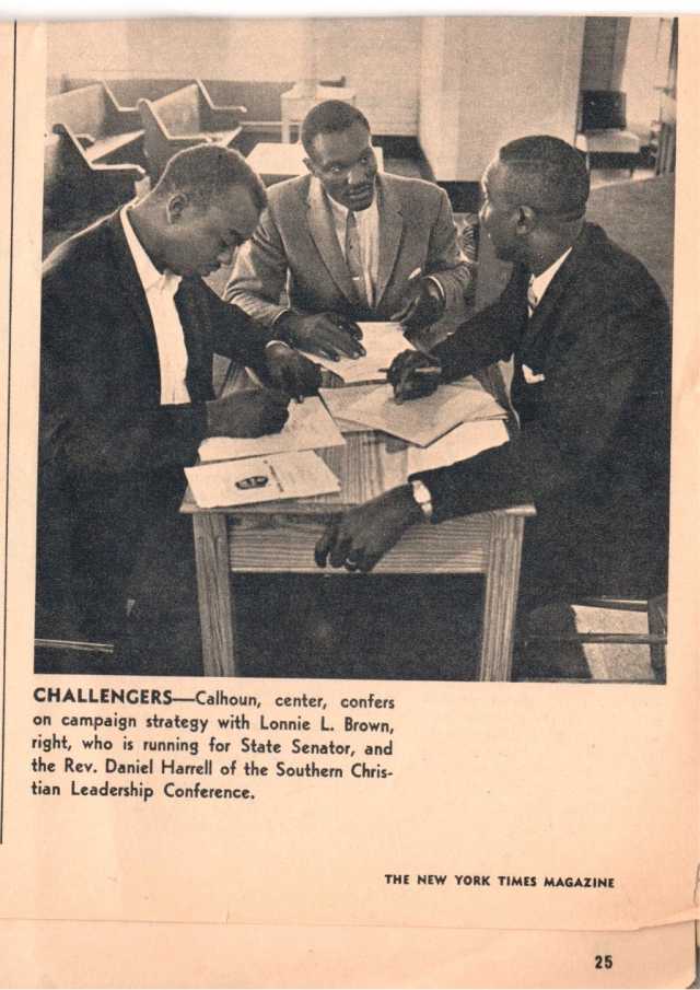 April 17, 1966 Wilcox County strategy session with State Senate candidate Lonnie Brown, Walter J Calhoun, candidate for Sheriff and SCLC leader Daniel Harrell
